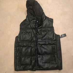 SeanJohn Leather Hooded Vest